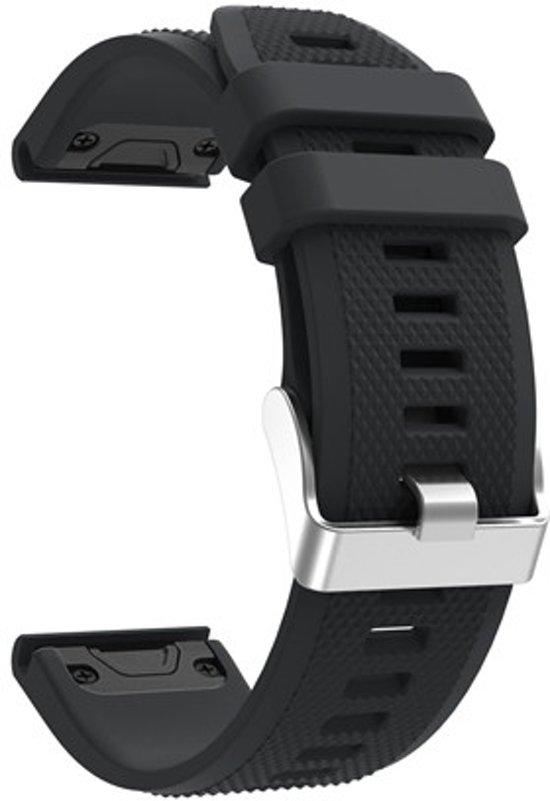 Siliconen Horloge Band Voor Garmin Fenix 5 (Plus) Sapphire / Forerunner 935 - Armband Polsband / Strap / Sportband - 22MM Quickfit - Small/Large - Zwart