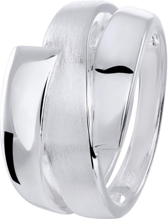 Lucardi - Zilveren ring mat/glans bewerkt