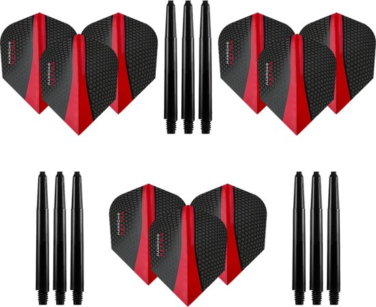 9 stuks Harrows Retina – Rood – Darts flights - en 9 stuks Dragon Darts - Medium – darts shafts
