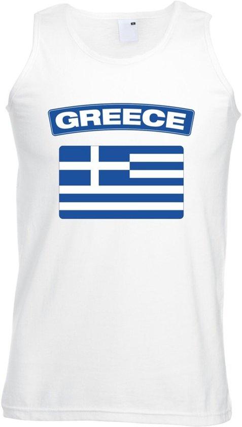 Griekenland singlet shirt/ tanktop met Griekse vlag wit heren XL