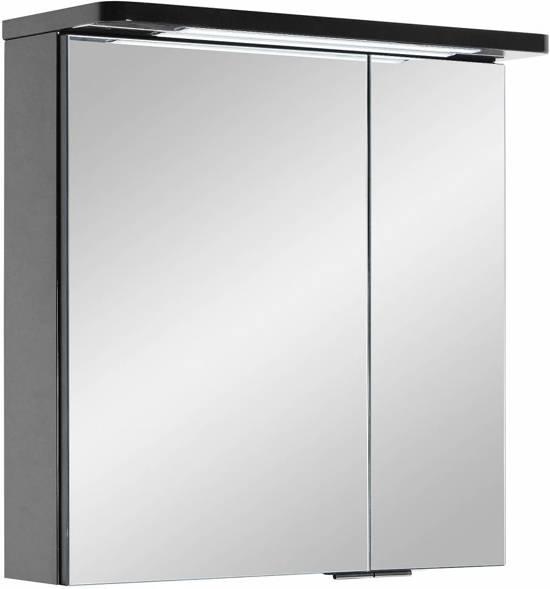 grete spiegelkast 60 cm met led verlichting zwart hoogglans