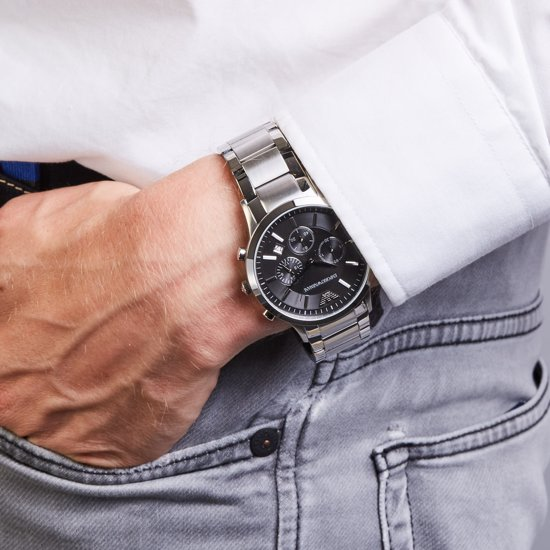 HonderdEmporio Ar2434 Staal Armani Top Horloge BQxWredoC