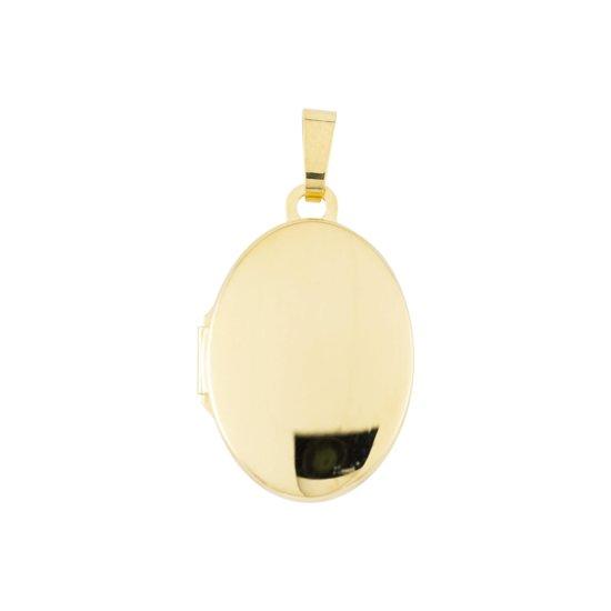 Glow medaillon - geelgoud - glad - ovaal - 21 x 14 mm