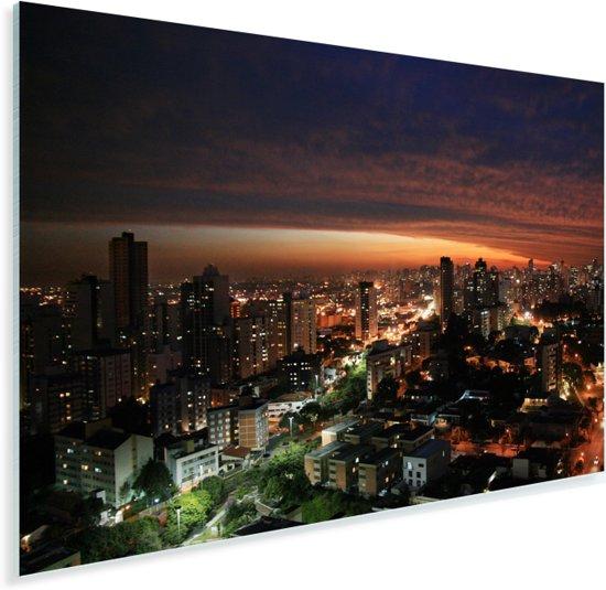 Avond skyline van Curitiba in Brazilië Plexiglas 30x20 cm - klein - Foto print op Glas (Plexiglas wanddecoratie)