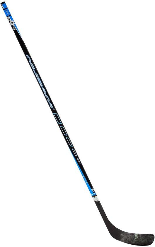 Nijdam IJshockeystick Hout/Glasfiber Sr - 155 cm - Zwart/Blauw/Zilver - Links