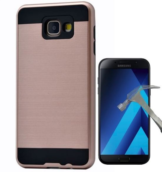 Teleplus Samsung Galaxy A7 2017 Double Layer Cover Case Gold + Glass Screen Protector hoesje