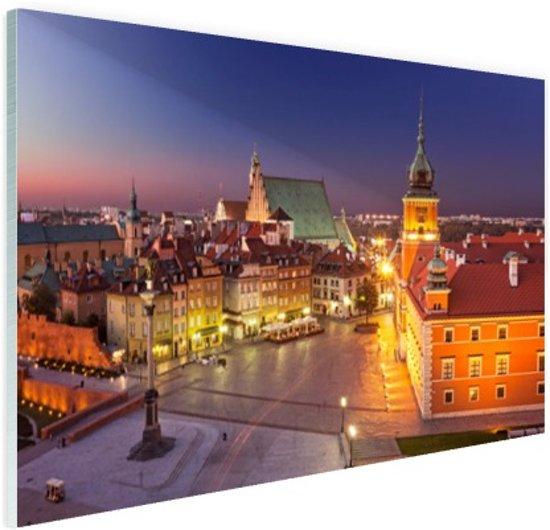 Warschau bij nacht Glas 30x20 cm - Foto print op Glas (Plexiglas wanddecoratie)