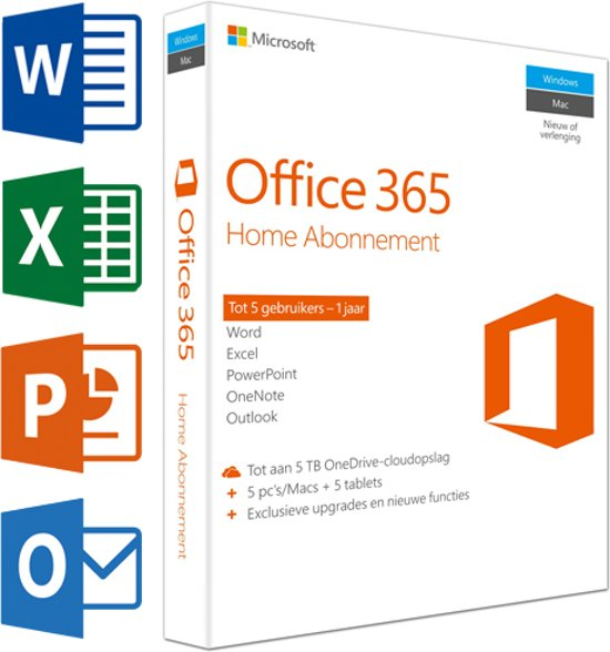 Microsoft Office 365 Home - Nederlands - 1 Jaar Abonnement