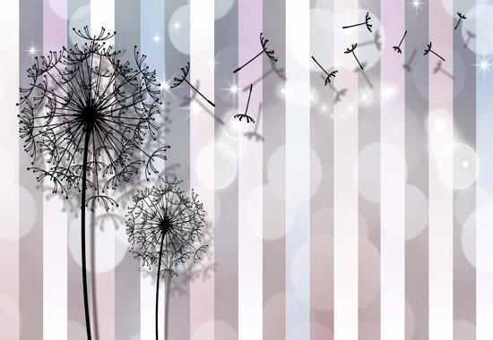 Fotobehang Flowers Dandelion Grey Pink   XXL - 206cm x 275cm   130g/m2 Vlies
