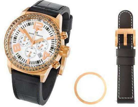 Marc Coblen  MCVP55- Horloge - 42 mm - Witte wijzerplaat - Bruine & zwarte horlogeband - 2 bezels