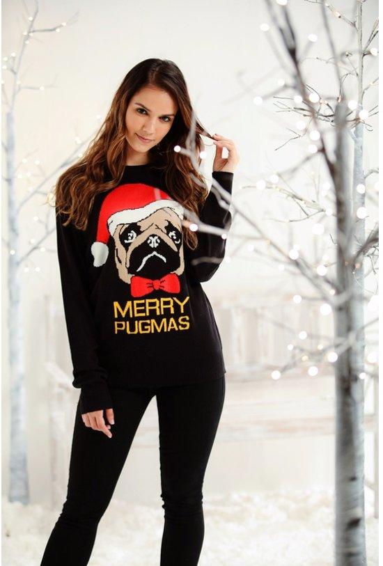 Kersttrui Mopshond.Kersttrui Zwart Met Mopshond Voor Dames Heren S 36