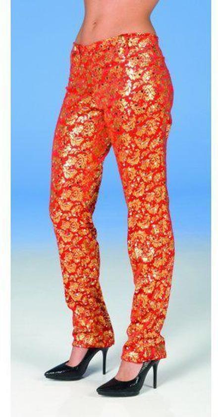 Fluweel look legging rood goud 36-38 (s/m)