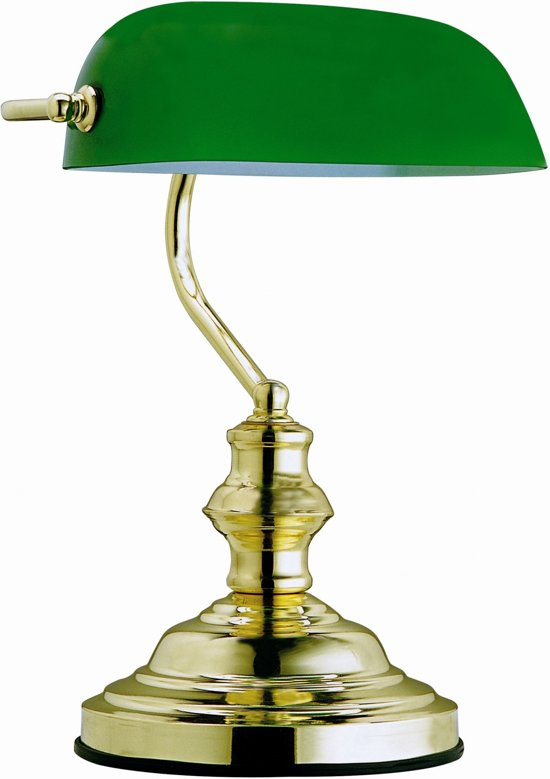 Tafellamp Globo Antique - Metaal/Messing - Groene glaskap