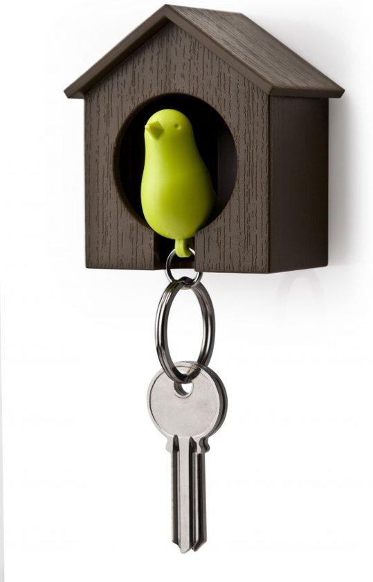 Qualy sleutelhouder vogelhuisje Sparrow - Kleur - Bruin - Groen