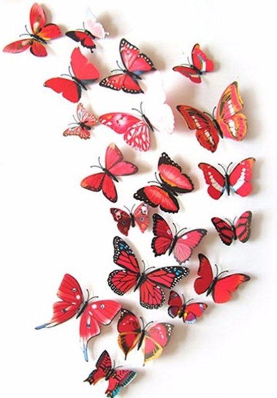Vlinder Decoratie Babykamer.Bol Com Rode 3d Vlinders Kleurrijke Muurdecoratie Vlinders