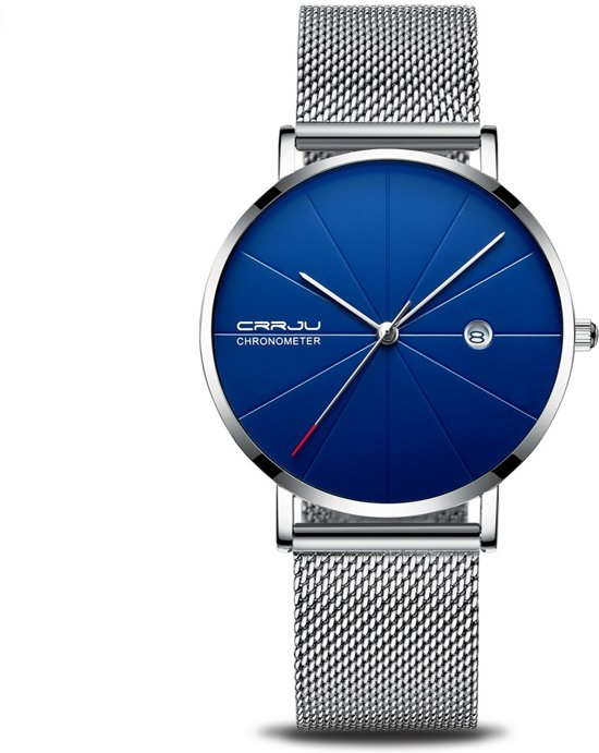 Crrju Unisex Horloge Kast Donkerblauwzilver Band Messing 40mm Productvideo