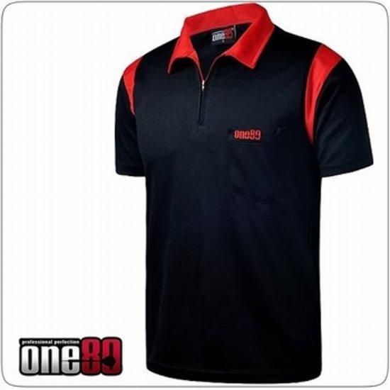 One80 Dartshirt Zwart met rode accenten  Per stuk 5XL