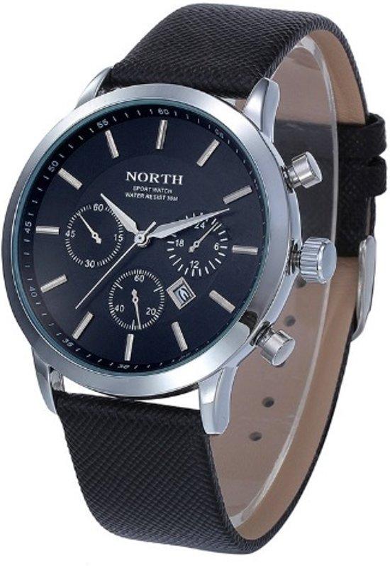 North - heren horloge - zwart - 45 mm - I-deLuxe verpakking