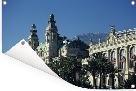Het beroemde Monte Carlo Casino in het Franse Monaco Tuinposter 90x60 cm - Tuindoek / Buitencanvas / Schilderijen voor buiten (tuin decoratie)