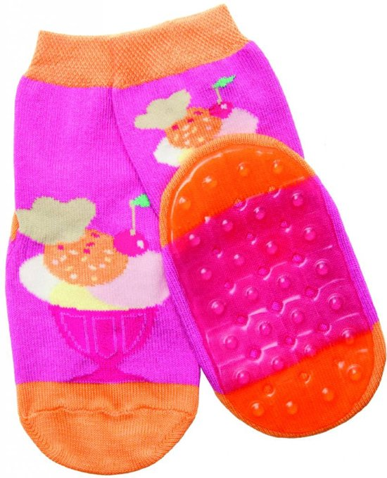 anti-slip sokken Stoppi roze ijsje Maat: 21-22