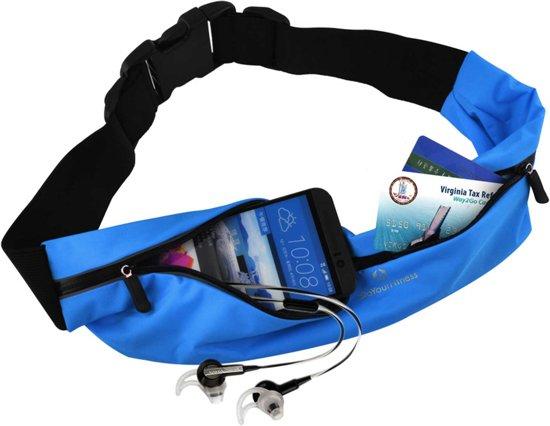 #DoYourFitness - Loopriem - »FunRunner« - heuptas / ritszak voor hardlopen ,elastisch, waterdicht - mobiele telefoon tot ca. 5,5 inch - blauw