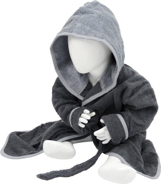 Babiezz™ Baby Badjas met Capuchon Grafiet Grijs - Antraciet Grijs  - Maat  98-110