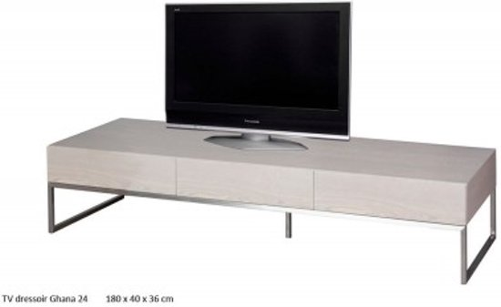 TV meubel Ghana 180 cm - Grey Ash - Essenhout/RVS
