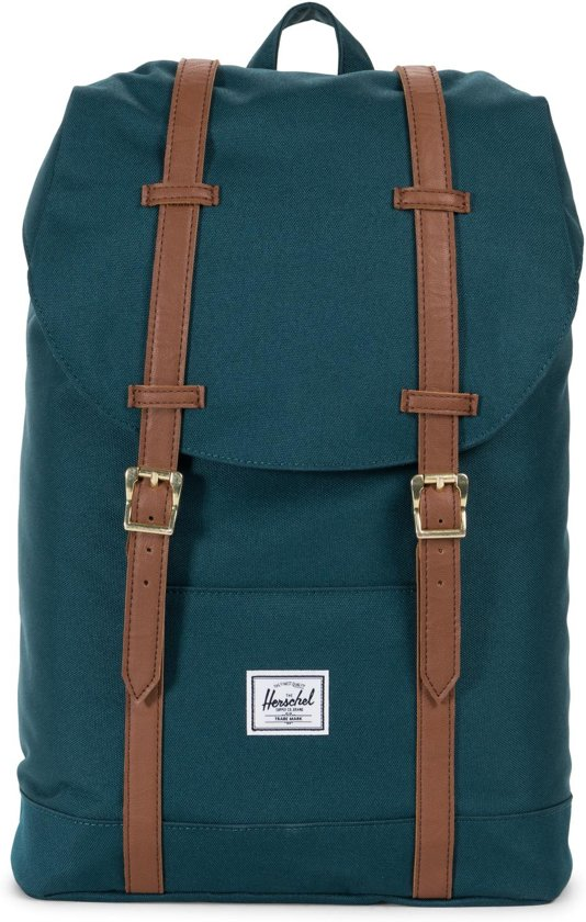 53206b0620d Herschel Supply Co. Retreat Mid-Volume Rugzak - Deep Teal / Tan Synthetic  Leather