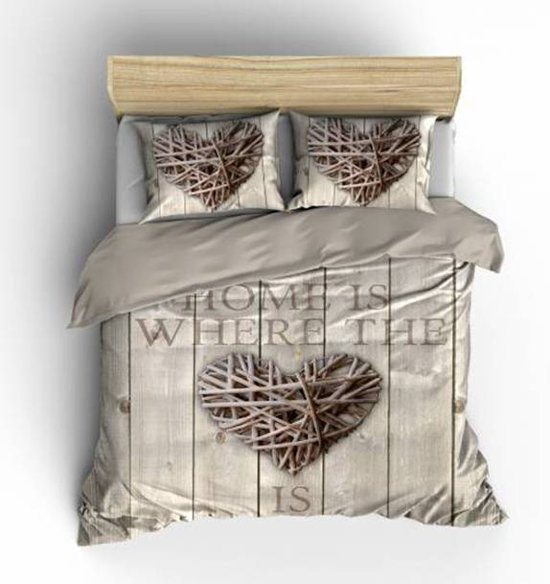 Nightlife Home is Wood - Dekbedovertrek - Lits-jumeaux - 240 x 200/220 cm - Taupe