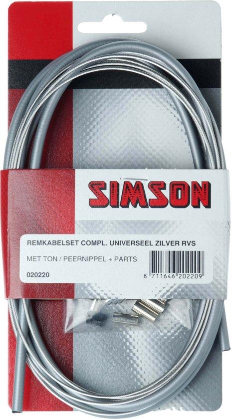 Kabelset rem simson universeel compleet tonpeer zilver rvs 020220 - ZILVER