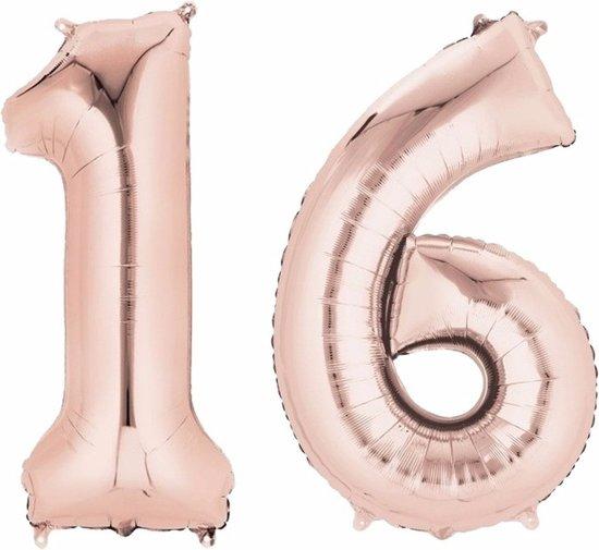 Folie ballon cijfer 16 rose goud Valentinaa