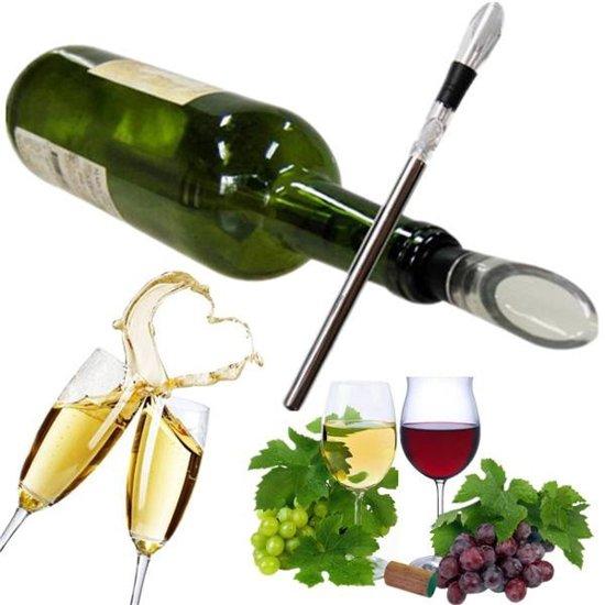 Wijnfleskoelstaaf Stick Met Decanteerder, Schenktuit & Wijnstopper  - Wijn Icestick