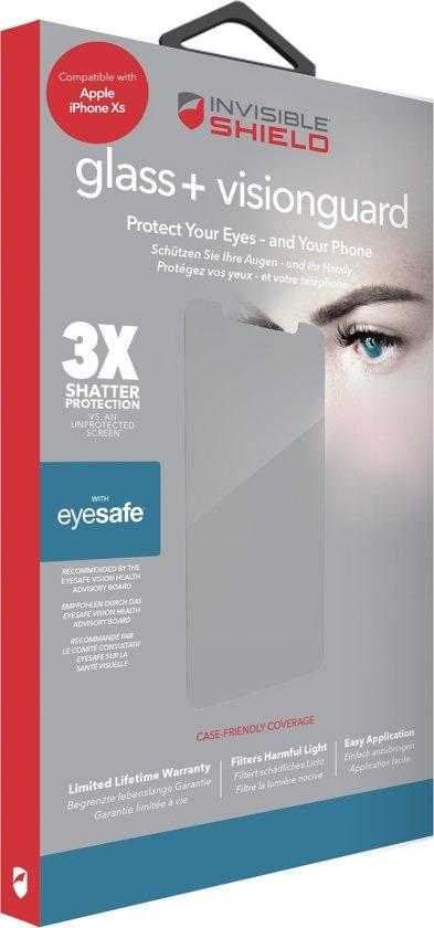 InvisibleShield GLASS+ VISIONGUARD iPhone Xs & iPhone X  - bescherm je ogen van bluelight zonder verlies van kleuren