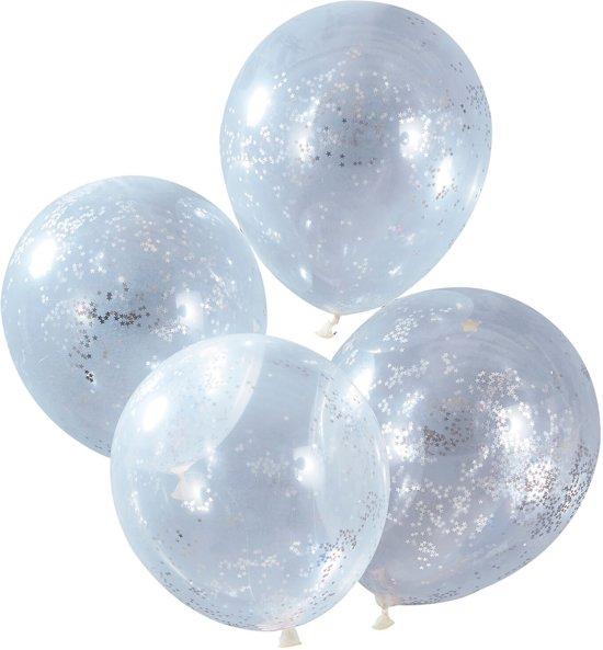 Ballonnen gevuld met zilveren ster confetti Ø 28 cm - Set-5 Valentinaa