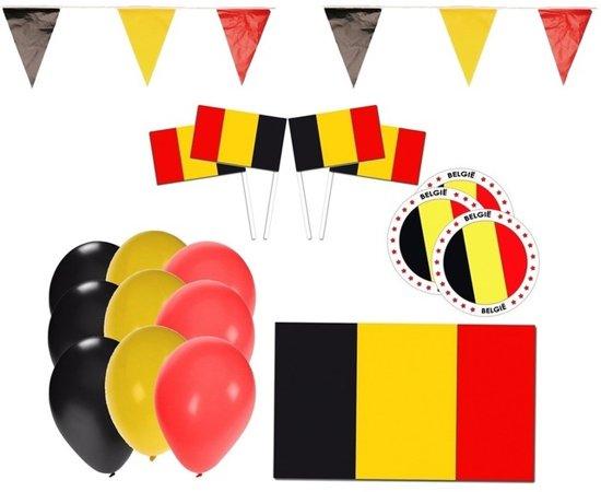 Belgie supporter versiering feestpakket - Belgische slingers / ballonnen en vlaggen Valentinaa