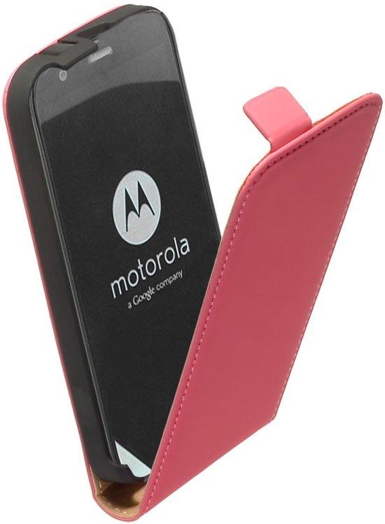 LELYCASE Lederen Flip Case Cover Hoesje Motorola Moto G Roze in Alphen aan den Rijn
