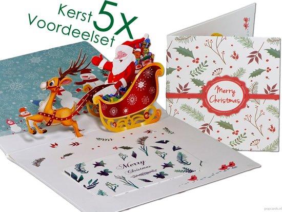 Popcards popupkaarten voordeelset - 5 Kerstkaarten kerstman met rendier en arrenslee pop-up kaarten