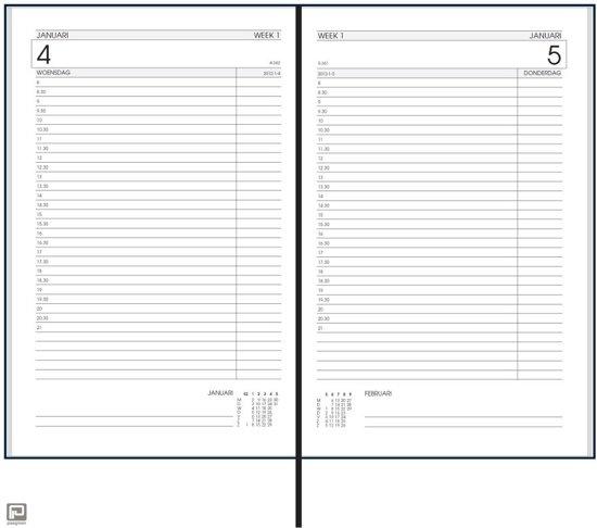Bureau Agenda 2019 - 1 dag per Pagina ZWART (13cmx21cm)