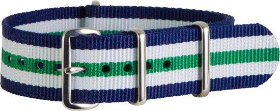 Premium Blue White Green - Nato strap 18mm - Stripe - Horlogeband Blauw Wit Groen + luxe pouch