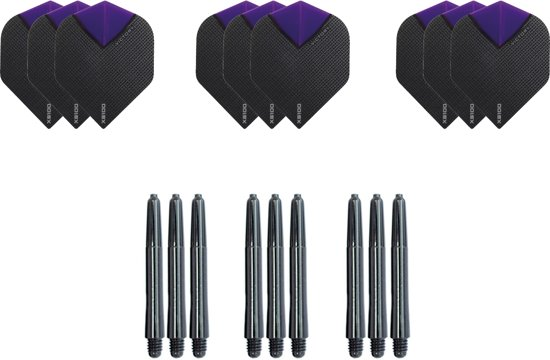 Dragon darts - Dartset - 3 sets dart flights en 3 sets nylon darts shafts - 18 pcs - paars - darts flights