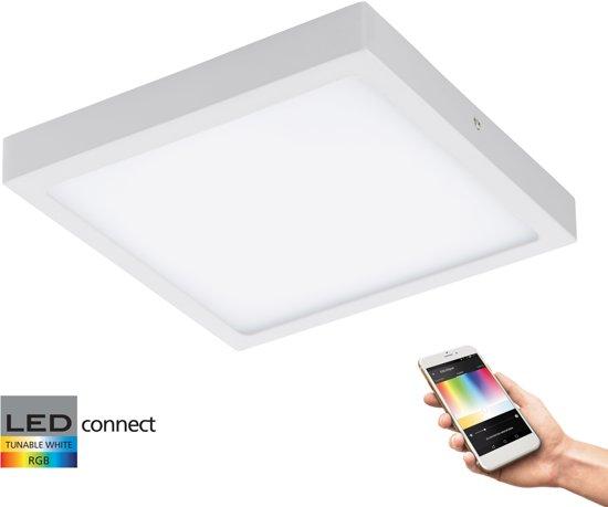 EGLO Connect Fueva-C - Wand/Plafondlamp - Wit en gekleurd licht - 300x300mm - Wit