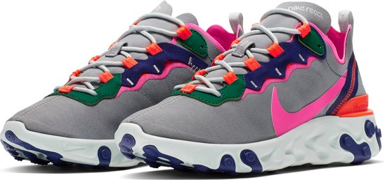 Nike React Element 55 Sneakers Dames - Wolf Grey/Laser Fuchsia-Hyper Crimson
