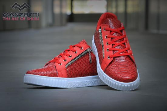 Maat Rode Rits Met Python En Sneakers 42 Van Heren Manzotti Print Sluiting 616Fvw