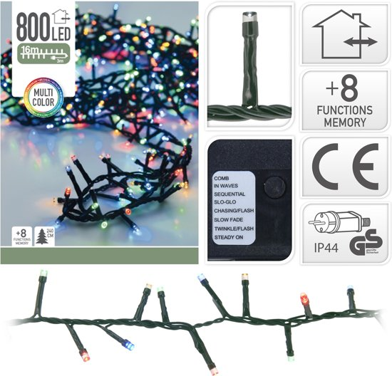 Kerstverlichting microcluster 800 LED Multi Color 16 Meter met 8 Standen Valentinaa