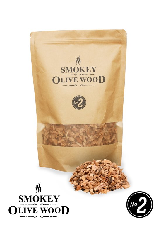 Smokey Olive Wood - Houtsnippers - 1,7L - Olijfhout -  Chips medium ø 5mm-1cm