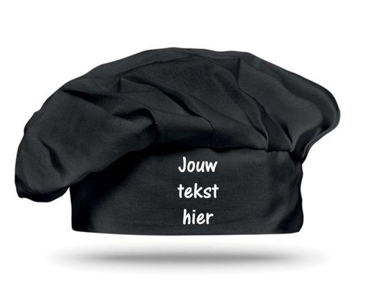 Mijncadeautje - Leuke Koksmuts - zwart - klittenband sluiting - 100% Katoen - Jouw tekst