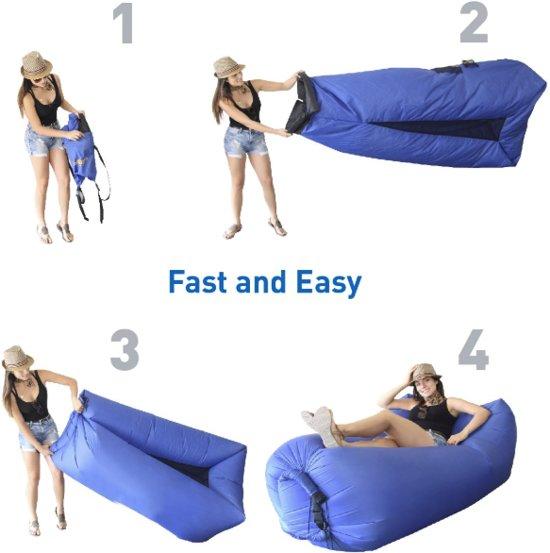 Opblaasbare Luchtbank - Inflatable couch - Luchtbank - AirSofa - Waterdicht | Strandbed/Strandzak - Kamperen - Zwart