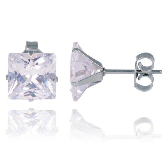 LGT Jewels Stud oorbellen Edelstaal Classic Transparent 6mm