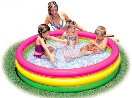 Intex kleurrijk opblaasbaar zwembad (voor 2 jaar en ouder) - met reparatiesetje