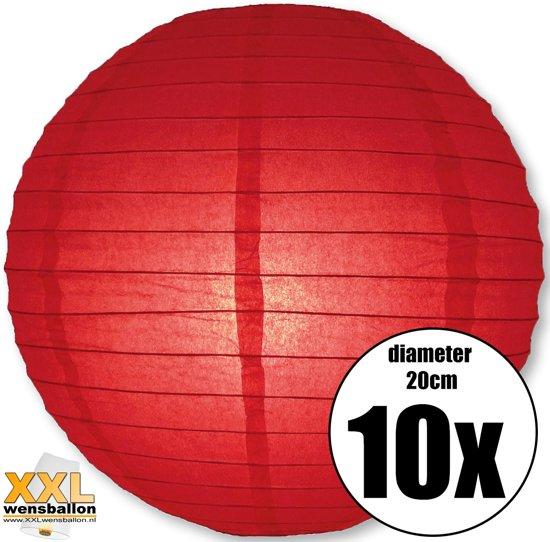 10 rode lampionnen met een diameter van 20cm Valentinaa